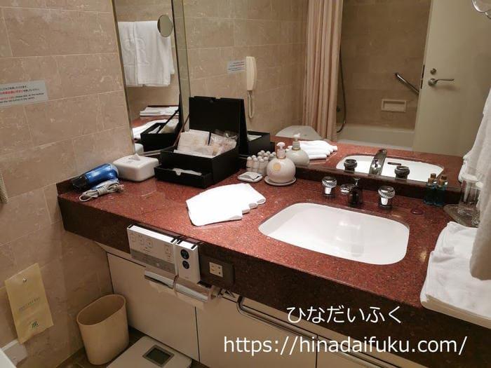 リーガロイヤルクラブフロアのスタンダードツインルーム洗面所