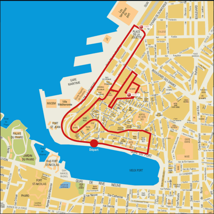 旧市街地を回るコース(Circuit2)のルート