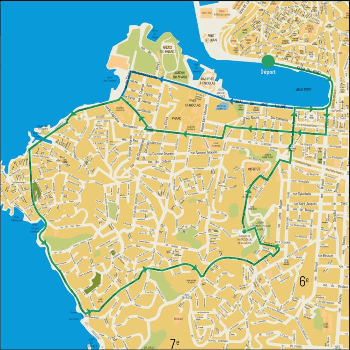 ノートルダム大聖堂を回るコース(Circuit1)のルート